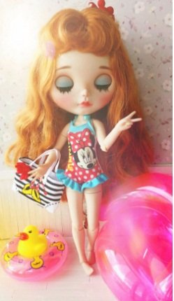 Studio one Cute mini Swimming set Suit Ring bag mini dug Cloth For Blythe Doll Licca 1/6 BJD doll