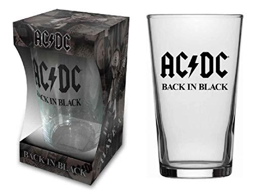 AC/DC - Vaso de cerveza (cristal, tamaño XL), color negro