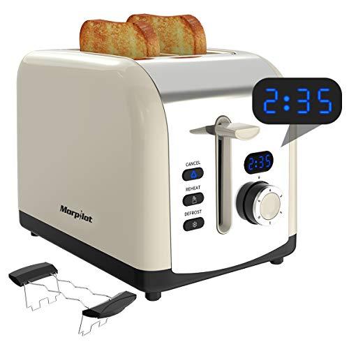 Morpilot 2 Scheiben Toaster Edelstahl Toaster mit Brötchenaufsatz, Breite Schlitze, Led Anzeige, Krümelschublade 800W Toaster Beige Creme Retro Vintage für Toast Brötchen Brot