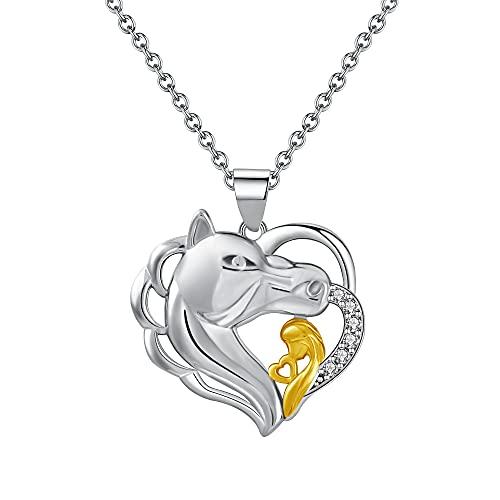 GDDX colección de animales collares de plata esterlina serpiente mariposa elefante colgante collar joyería regalos de cumpleaños para mujeres niñas (collar de caballo)