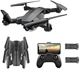 SGOTA RC Drone with Dual 720P HD 2mp Cameras Foldable FPV WiFi RC Quadcopter 2.4Ghz Remote Control Drone with Follow Me Mode (S6) Double battery