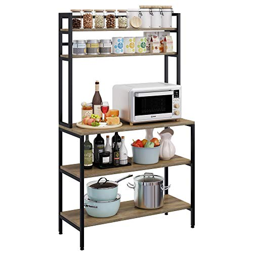 HOMECHO Küchenregal Bäckerregal Küchenwagen mit 5 Ablage Mikrowellenhalter Standregal, multifunktionale Küche Aufbewahrungsregal Küchenregallagerung 80x40x170cm