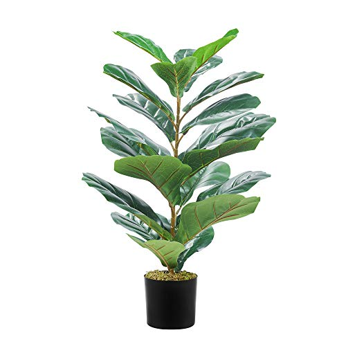 Cozy Castle 27in Artificial Mini Fiddle Leaf Fig Tree, 20 Leaves Mini Faux Fake Tree, Evergreen Faux Plants, Tabletop Ficus with Pot for Living Room, Farmhouse, Office Desk Decor