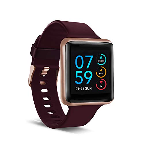iTouch Air SE Smartwatch & Activity Tracker with Heart Rate Monitor, Sleep & Step Tracker. Water Resistant Smart Watch for Women & Men, Compatible with Android & iOS, Rose Gold Case Merlot Strap, 41MM