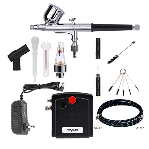 Sagud Airbrush Kit with Portable Mini Air Brush Compressor – Gravity Feed Dual - Action Airbrush for Cake Decorating, Hobby, Craft, Tattoo, Nails, Makeup with Airbrush Cleaning Kit
