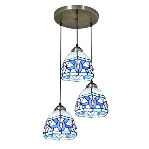 Tiffany Style Tulip - Lámpara colgante de 3 luces para comedor, estilo vintage hecho a mano para lámparas de cocina, dormitorio, cafetería, bar, B