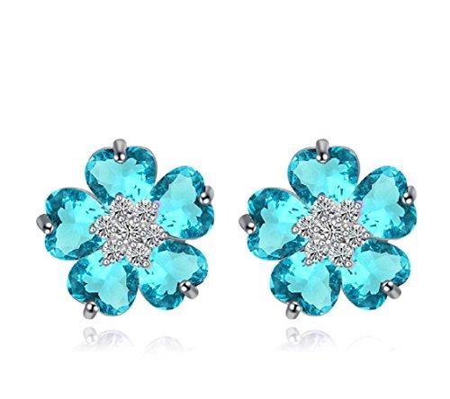 Flores Pendientes con Azul Aguamarina simulada Cristales austríacos de Zirconia 18k Chapado en oro blanco para mujer