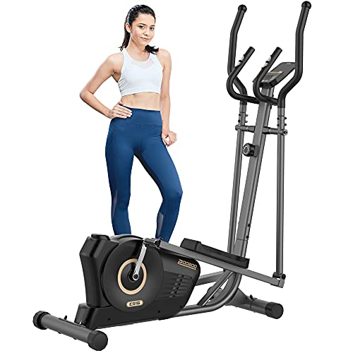 pooboo Elliptical Machine for Home Use 300 lbs, Magnetic Elliptical Training Machines with Pulse Rate Grips and LCD Monitor, Smooth Quiet Driven Indoor Exercise Machine for Gym Office Workout (Black)