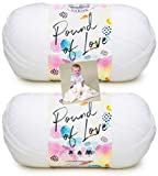 Lion Brand Pound of Love Yarn - 2 Pack with Pattern (White)