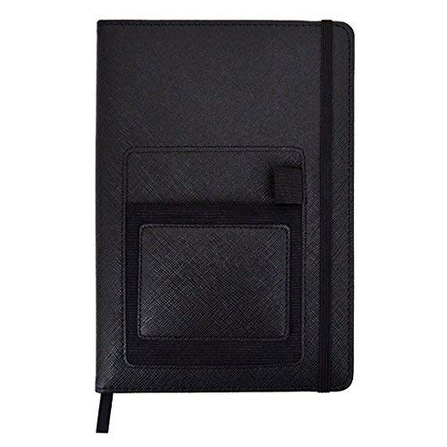 CLARA PU Leather Notebook Journal College Ruled Papers Notepad with Bookmark Phone Pocket Pen Holder Black 8.35.7