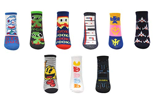 Classic Arcade Game Socks including Pac-Man, Galaga, Dig Dug. 9 Pairs