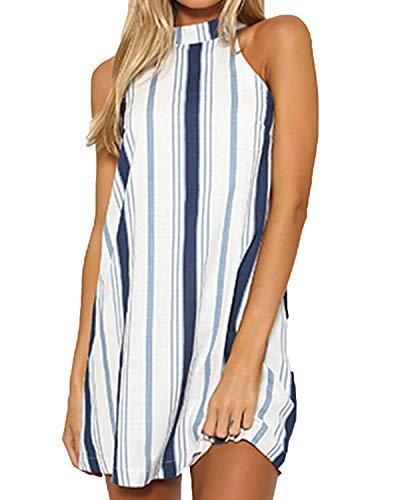 YOINS Robe de plage pour femme - Décontractée - Robe d'été - Courte - Épaules dénudées - Élégante - Mini robe sans manches - - Taille XXL