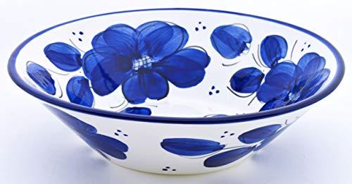 ART ESCUDELLERS LEBRILLO en Ceramica Hecho y Pintado a Mano con decoración Azul Clasico. 28 cm x 28 cm x 8 cm