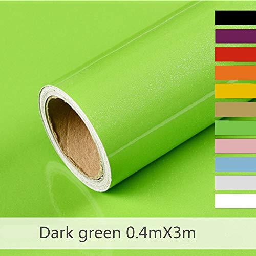 Hode Selbstklebende Folie Klebefolie für Möbel Küche Kühlschrank Möbelfolie Wasserdicht Vinyl 40cmX300cm Dunkelgrün