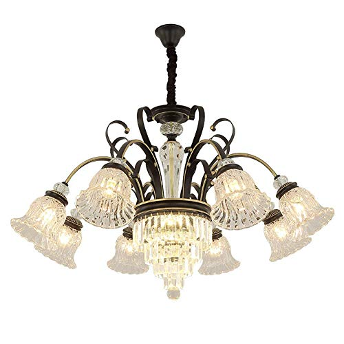 Lámpara de araña LuxuCrystal de luz moderna luz de techo simple para el hogar sala de estar restaurante pasillo iluminación oro negro 8 luces