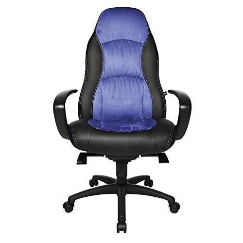 Topstar Drehsessel - Kunstleder/Mikrofaser - schwarz/blau - Bürodrehstuhl Bürodrehstühle Chefsessel Chefstuhl Chefstühle Drehsessel Drehstuhl Drehstühle Ledersessel Lederstuhl Lederstühle Sessel