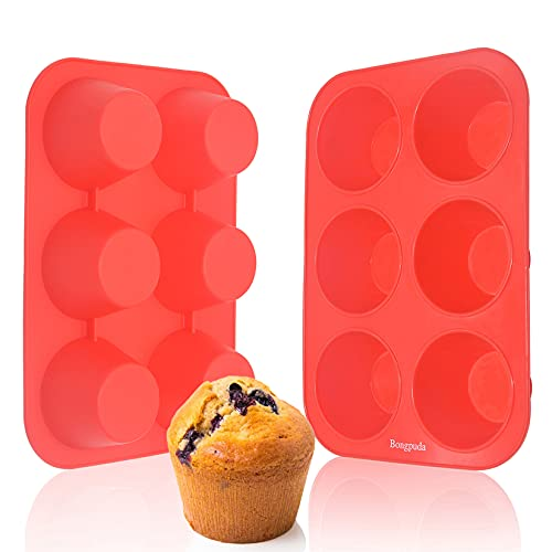 Silicone Jumbo Muffin Pan - 6 Cup Silicone Cupcake Pan,Non-Stick Silicone Muffin Tray,Egg Muffin Pan,Food Grade Muffin Molds,BPA Free and Dishwasher Safe,Set of 2