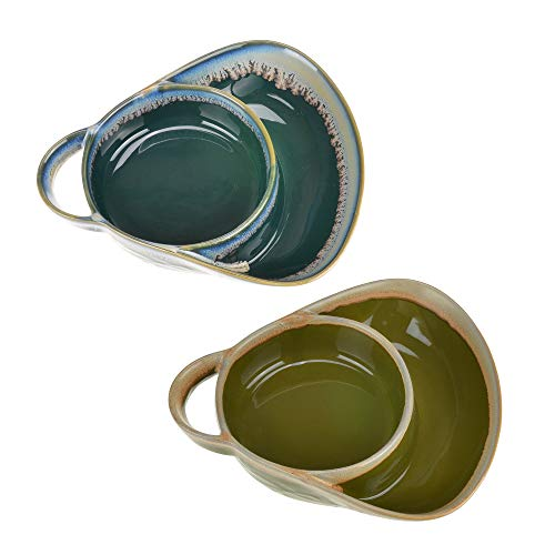 Stoneware Soup & Side Bowls Set of 2 by Roe & Moe (Olive Green & Dark Teal)