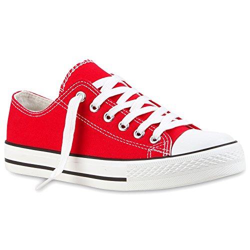 stiefelparadies Damen Schuhe Sneakers Low Sportliche Turnschuhe Freizeit Schuhe 114077 Rot 40 Flandell