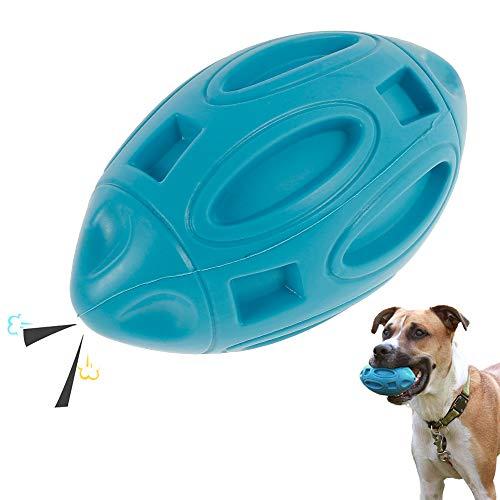Quietschendes Hundespielzeug, Gummiball für Hunde,Rugby-Ball,Gummi-Welpen-Kauball mit Quietscher, Fast unzerstörbares und langlebiges Haustierspielzeug für mittelgroße und große Rassen (Hellblau)