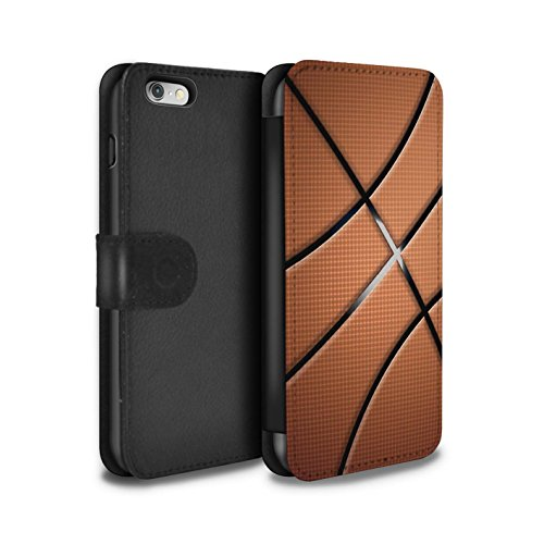 Stuff4 PU-Leder Hülle/Case/Tasche/Cover für Apple iPhone 6S / Basketball Muster/Sport Bälle/Ball Kollektion