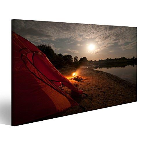 islandburner Bild auf Leinwand Zelt und Lagerfeuer in der Nacht Wandbild, Poster, Leinwandbild FLA