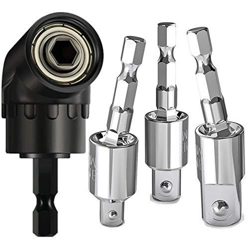 Cherrier 3pcs impact socket adapter set, 360°Rotatable Hex Shank Impact Driver Socket Adapter, Socket to Drill Adapter 1/4' 3/8' 1/2' Impact Driver Adapter,105°Right Angle Drill Bit Adapter Attachment