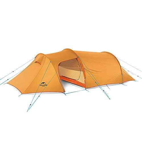 Naturehike(ネイチャーハイク) 3人用 OPALUS 3トンネルテント 2ルームハウス 4シーズン 超軽量バックパックテント アウトドアスポーツキャンプ用 グランドシート付 (3人用、オレンジ、210T)