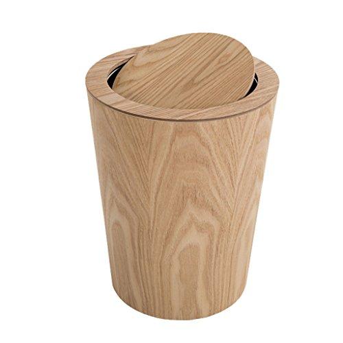 Nordischen Stil Mülleimer Holz Material Mülleimer Flip Runde Indoor Mülleimer Wohnzimmer Schlafzimmer Mülleimer Mülleimer Büro Home Bad Papierkorb (Color : B)