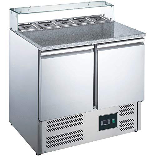 ZORRO - Pizzatisch ZPS 200 G - 2 Türen - Kühltisch mit Granitplatte - Salatkühlung - Gastro Belegstation
