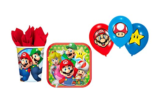 Zeus Party Kit Compleanno Super Mario Run con Palloncini Coordinato TAVOLA Festa addobbi (per 32 Persone)