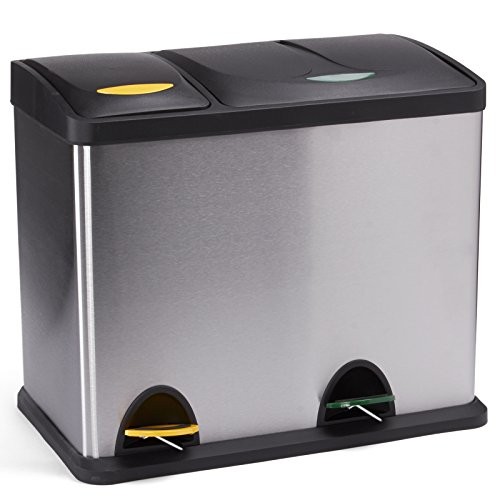 MSV Mülleimer Mülltrennsystem 26 L (8 Liter + 18 Liter) mit Inneneimer große Abfallbehälter Abfalleimer Treteimer Edelstahl