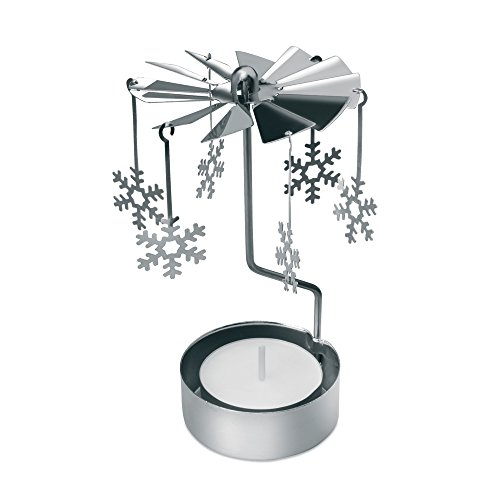 eBuyGB feestelijke roterende carrousel spinnen thee licht houder, metaal, zilver