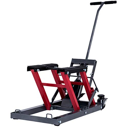 Goplus Motorcycle ATV Hydraulic Scissor Lift Jack Stand Quad Dirt Street Bike Hoist 1500 Lbs