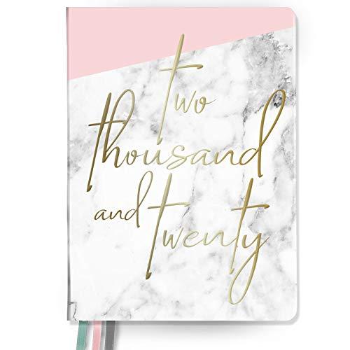 Takenote Agenda del 2020, effetto marmo rosa, rilegatura con filo metallico, vista settimanale, dimensioni: 16,5x21,5 cm