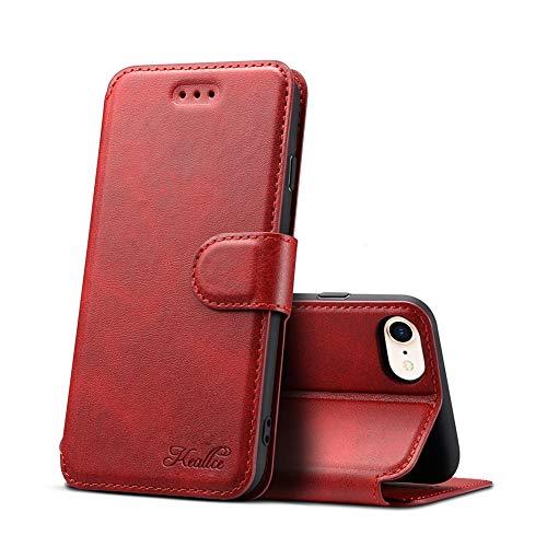 iPhone se ケース 第2世代 iPhone se 2020 ケース 手帳型 iPhone 8 ケース 手帳型 iphone7 iphone6s iphone6手帳型ケース 5機種対応 マグネット式収納力抜群横置きスタンドアイフォン 8高級PUレザーケース アイフォン6sケース手帳iPhone SE 2020 ケース 財布型 スマホケース (iPhone6/6s/7/8/SE2020 4.7 inch対応) K2 レッド