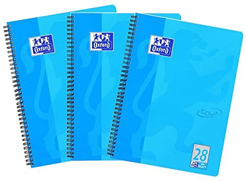 Oxford Touch - Cuaderno (A4, cuadriculado, 80 hojas, 3 unidades), color azul