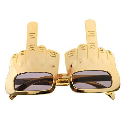 Vektenxi Tricky Mittelfinger Sonnenbrille, Neuheit Party Brillen - Gold, Hohe Qualität