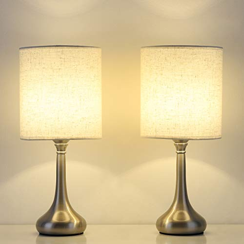 Shinoske - Juego de 2 lámparas de noche y modernas, lámparas de mesa de mesita con pantalla de tela, lámparas de escritorio pequeñas vintage para dormitorio, hotel, base de metal plateado