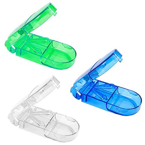 You&Lemon 3 Stück Tablettenteiler mit Metallklinge Scharfe Pillenschneider Tablettenteiler Exakt Pillenteiler Medikamentendispenser