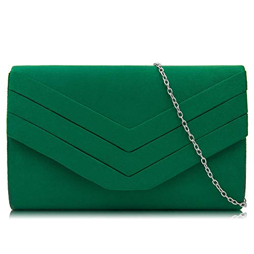 Milisente Mujer Embragues Ante Sobre Bolsa de noche Clásico Cartera de mano (Verde)