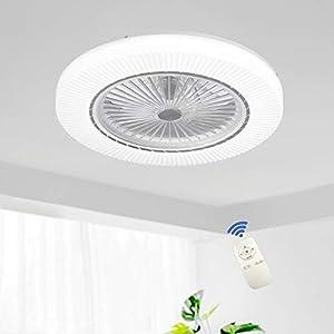 Ventilador De Techo LED 90W Luz Del Ventilador Invisible Plafon Con Iluminación Control Remoto Luces Regulable Silenciosa Sala Habitación De Niños Dormitorio Comedor Lámpara De Araña De Ventilador