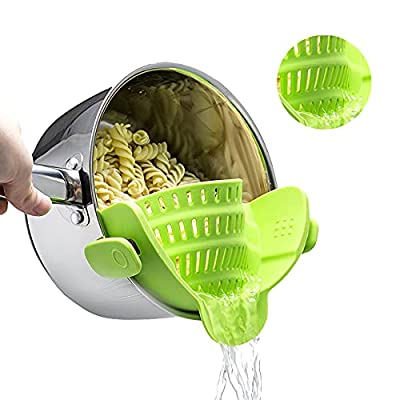 Clip on Food Strainer for Kitchen, Silicone Pasta Pans with Strainer Fit Most Pots, Food Strainer with 2 Clips for Pasta, Spaghetti, Muzpz Smart Cool Kitchen Gadgets Small Colander from
