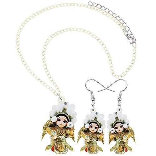 FUKAI Conjunto de joyas de acrílico con caracteres para mujer, pendientes largos, collar para mujeres, adolescentes, niños, accesorios de moda