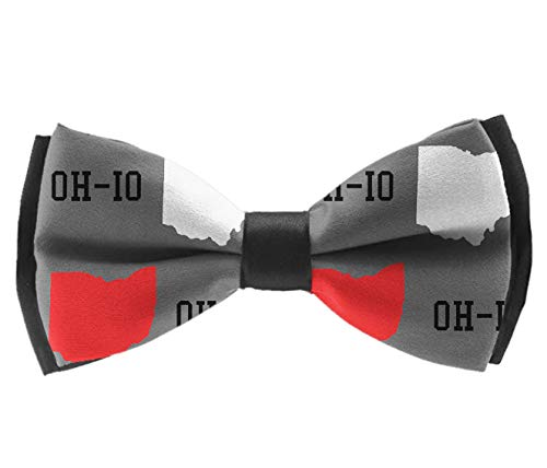 YongColer Adjustable Length Pre-Tied Bow Tie for Men & Boys Elegant New Oh-Io State Map Gray Bowtie