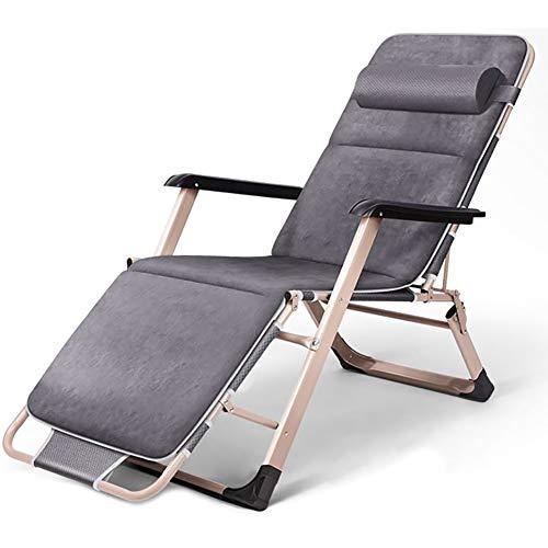 WYXR Sillas Plegables Playa, sillas de Playa para Exteriores con Gravedad Cero, para jardín terraza Camping,Gris,with Cushion