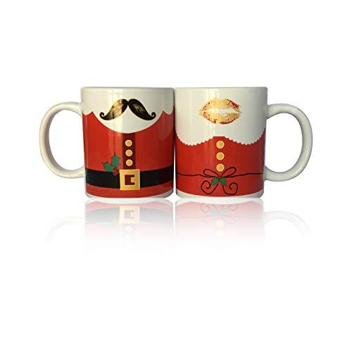 2 tazas de desayuno de cerámica – 2 tazas con temática navideña – Bigote y beso – Perfecto como regalo de Navidad