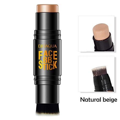 Allbesta Stick de fond de teint double embout, avec pinceau, pour visage, yeux, maquillage, correction, contouring