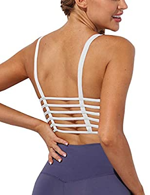 AngiMelo Womens Workout Sports Bra Padded Longline Crop Top Strappy Fitness Yoga Tank Cami Running Vest