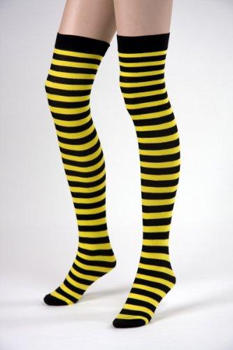 Festartikel Müller Karneval Zubehör halterlose Strümpfe Biene zum Hexe Kostüm Halloween